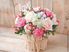 Купить Нежная розово-кремовая композиция - букет из живых цветов, букет из цветов, букет из роз