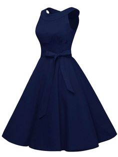 Vintage Dresses Vintage Belted Pin Up Swing Dress - DEEP BLUE - Fashion Clothing Site with greatest number of Latest casual style Dresses as well as other categories such as men, kids, swimwear at a affordable price. School Dance Dresses, Grad Dresses, Homecoming Dresses, Dress Outfits, Evening Dresses, Girl Outfits, Fashion Dresses, Emo Outfits, Simple Dresses