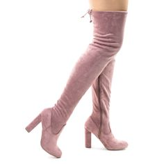 Stretchy Thigh High Over Knee Open Toe Block Heel Pull On Boot Nude Beige Sz 6.5