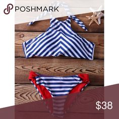 """""""Sailor"""" striped halter 2 piece bikini Beautiful blue and white stripped 2 piece. Silky and soft to the touch. Lined in red. Brand New. Material- Nylon Spandex. Size M  bust 32-34 cup C, waist 26-27 Size L Gilded Amazon Swim Bikinis"""