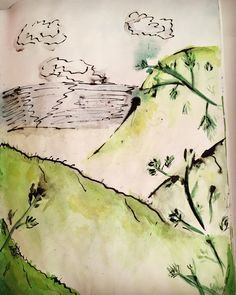Mountains Watercolour Sketchbook Painting with black pen by NyxStudioArt Watercolor Sketchbook, Watercolour, 2d Art, Nyx, Mountains, Artwork, Nature, Painting, Travel
