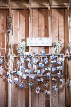 Nautical photo display for a waterside wedding