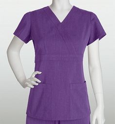 Grey's Anatomy Signature 3 Pocket Solid Mock Wrap 2153 in Cabernet Heather color