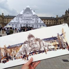 JR dresses the pyramid of the Louvre and it disappears! @jr #paris #uskparis #usk #urbansketchers #museedulouvre #sketchbook #watercolor #art by marion75