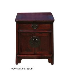 $420 Chinese Elm Wood Brown End Table Nightstand - Golden Lotus Antiques
