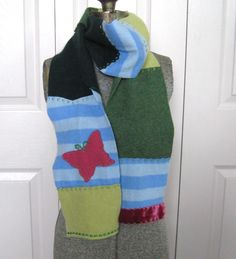 Felted Cashmere Scarf made from recycled Cashmere  Sweaters LOST BUTTERFLY 204 by heartfeltbaby on Etsy