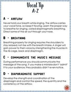 Chorus (Choir) A-Z Vocal Tips Music lessons for kids…. Singing: A-Z Vocal Tips Vocal Lessons, Music Lessons For Kids, Guitar Lessons, Singing Exercises, Vocal Exercises, Learn Singing, Singing Tips, Kids Singing, Free Singing Lessons