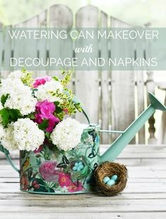 Give a watering can a sprinkle of blooms and butterflies using napkins with decoupage! This easy and fun technique works on any surface that you want to refresh and give a spring or blooming makeov… Peach Dumplings, Apple Fritter Bread, Frozen Dog Treats, Mosaic Flower Pots, Paint Chips, Craft Projects, Craft Ideas, Fun Ideas, Party Ideas
