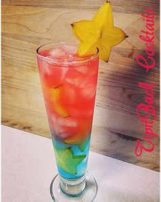 Hoochie Mama On the Beach Top Layer: 2 oz Vodka 1/2 oz Raspberry liqueur 1 tsp lime juice Bottom Layer: 1.5 oz Coconut Rum 1/2 oz Blue Curaçao 3 oz Sprite *Build top and bottom layer in seperate glasses. Fill glass with starfruit slices and ice. Pour in bottom layer till 1/2 full. Slowly pour top layer over ice. Garnish with starfruit slice. Enjoy!*