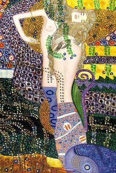 Gustav Klimt Sea Serpents - Ipaintingsforsale.com
