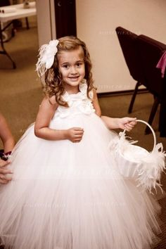 Ball Gown Shoulder Straps Long Tulle Flower Girl Dress a62ebec78d90