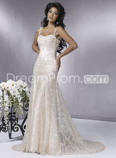 Gorgeous Trumpet/Mermaid Straps Floor-length Chapel Train Lace Wedding Dresses