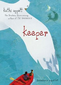Keeper by Kathi Appelt.  On the night of the blue moon when mermaids are said to gather in the Gulf of Mexico, Keeper sets out in a small boat determined to find her mother, a mermaid, as Keeper has always believed, who left long ago to return to the sea.
