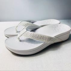Vionic Shoes | Vionic Wedge White Sandals & Flip Flops Women 11 | Color: Silver/White | Size: Various