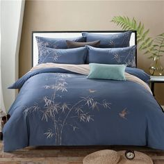 4Pcs Egypt Cotton Bule Color Oriental Embroidery Bedding Set King Queen Size Luxury Bedclothes Duvet Cover BedSheet Pillowcases-in Bedding Sets from Home & Garden on Aliexpress.com | Alibaba Group
