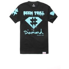 Been Trill x Diamond Supply Co. Hash Tag Tee ($35) ❤ liked on Polyvore featuring mens, men's clothing, men's shirts, men's t-shirts, tops, shirts, t-shirts and black