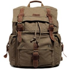 Kattee Vintage Canvas Leather Hiking Travel Backpack School Bag ($51) ❤ liked on Polyvore featuring bags, backpack and accessories