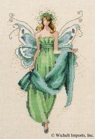 "NC107 - Fern - Pixie Couture Collection - Nora Corbett Designs (Mirabilia Designer) Uses / Description: 862101 Antique White Jobelan 32ct, 429101 Antique White Jobelan 28ct, 65110 French Lace Linen 32ct, 65101 Antique White Linen 32ct  Beads: (# of pkgs) 03050 (1), 10030 (1), 10085 (1)  Kreinik: 019 #4 Braid (B962 or B1962), 3214 #4 Braid (B923 or B2923)  See Nora Corbett Embellishment Pack: NC107E  **Approximate size 6"" w x 10"" h"