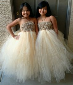 Flower girl dress  tutu dress champagne by Theprincessandthebou, $130.00