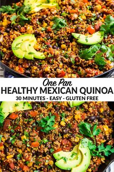 This healthy Mexican Quinoa cooks in one skillet! With colorful veggies, black beans, and zesty spices, it's a flavorful, filling vegetarian dinner or side. Mexican Bowl Recipe, Healthy Mexican Recipes, Vegetarian Recipes, Quinoa Dinner Recipes, Healthy Mexican Sides, Vegan Quinoa Recipes, Mexican Cooking, Veggie Recipes, Paleo