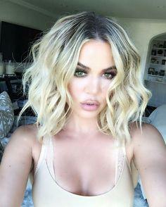Khloe Kardashian rocks bob haircut. #hairstyle #khloekardashian #bobhaircut