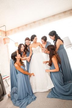 We  this real Vow wedding! Our beautiful bride Lidia and her bridesmaids in our exclusive Jenny Yoo Collection dusty blue 'Aidan dress.' Rent the look with Vow To Be Chic!
