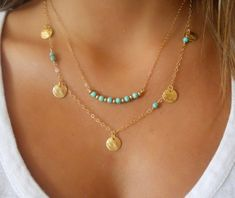 Celebrity Inspired Turquoise Bead & Gold Circle Pendant Layer Necklace