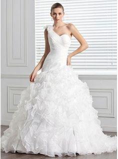 Ball-Gown One-Shoulder Court Train Organza Wedding Dress With Ruffle Flower(s) (002000590)