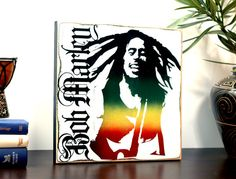 """Wicked Cool Wood Wall Art Decor Sign of Bob Marley. Perfect for the home, room, or office space! """"Bob Marley"""" by Jetmak Designs"""