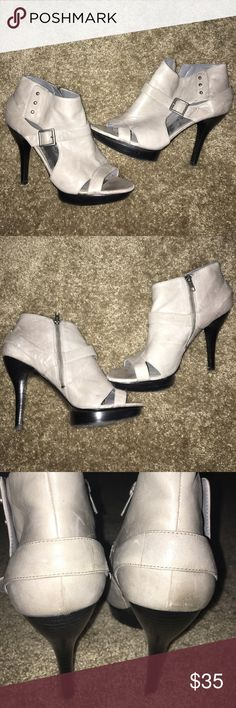 Nine West Peep Toe Gray Booties Heels Size 10 Worn once and in excellent condition.  Heel is three inches, platform is .75 inches.  Some discoloration on leather of back right heel, see last pics.  No box. Nine West Shoes Heeled Boots