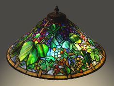 glass lamp with grapes - 28″ Tiffany Reproduction Grape Cone - Gale Obler's Stained Glass