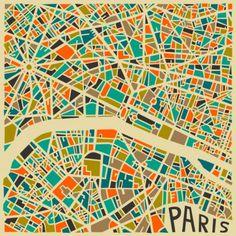 Graphic abstract City Map of Paris created by artist Jazsberry Blue. Art And Illustration, Paris Kunst, Art Parisien, Plan Paris, Art Carte, Abstract City, Blue Abstract, Abstract Print, Paris Map