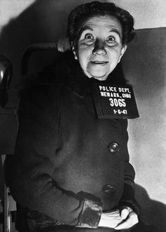 "This is a photo of ( Mrs. Laura Bell Devlin ) 72 years old She Murdered her husband. Then she chopped him up & scattered the body parts in her backyard. She professed her dislike for jail & protested vehemently when the police fingerprinted her... She remarked ""That the ink will make my hands dirty"". (1947)"