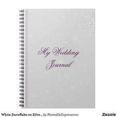 White Snowflake on Silver Eggplant Wedding Journal