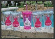 Set of 5 Bridal Party Wedding Tumbler Cups