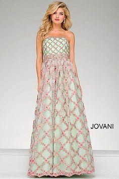 Multi Color Embellished Strapless A Line Dress 48910