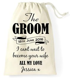 Personalised Wedding Day Favor Favour Gift Bag Groom by FPPrinting