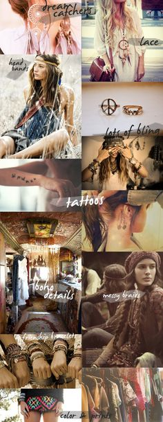 Boho bohemian hippie gypsy moodboard. Hippie accessories. For more follow www.pinterest.com/ninayay and stay positively #inspired