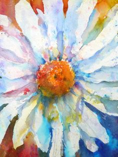 Brusho Daisy. Joanne Boon Thomas ~ The extra colors add beautiful dimension and make this stand out. I must try this!