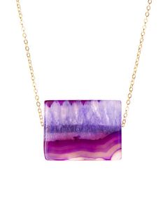 Love this Gold & Amethyst Agate Slab Pendant Necklace by Luxe Group on #zulily! #zulilyfinds
