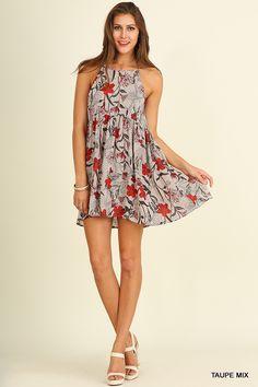 @knittedbelle #knittedbelle Sleeveless Floral Print Halter Neck Dress - Taupe Mix
