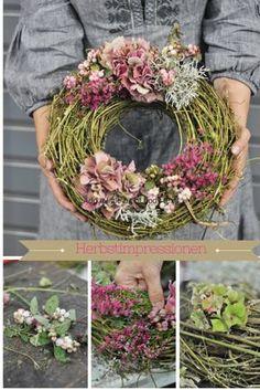 Herbstkränze aus Hopfen und Hortensien DIY