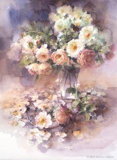 Art by Yuko Nagayama Watercolor Artists, Watercolour Painting, Watercolor Flowers, Painting & Drawing, Watercolor Portraits, Watercolor Landscape, Watercolours, Art Floral, Japanese Artists