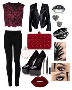 """""""Sassay night out"""" by cutekittyxox ❤ liked on Polyvore featuring Wolford, Ted Baker, Alexander McQueen, Valentino, Betsey Johnson, Yves Saint Laurent, Chanel and Lime Crime"""
