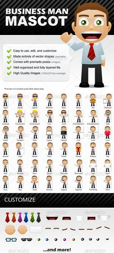Buy Business Man Mascot by on GraphicRiver. A mascot is a great way to welcome visitors to your website and show off your new products! This mascot is easy to e. Pencil Illustration, Character Illustration, Digital Illustration, Joomla Themes, Business Brochure, Buy Business, Photoshop, Vector Shapes, Website Themes