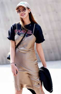 tshirt under slip dress street style