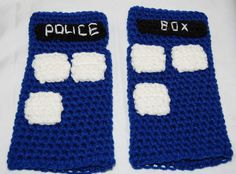 Crochet Dr. Who Police Box Fingerless Gloves by efficientsense, $20.00