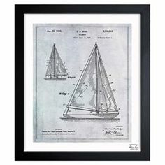 Bringing nautical flair to your living room or den, this charming print showcases a vintage-inspired sailboat blueprint and black wood frame. Made in USA.  Product: Wall artConstruction Material: Glass, paper and woodColor: Black frameFeatures: Artwork arrives ready to hang with all the hardware included