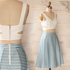 White Crop top and striped blue skirt www.1861.ca