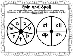 Freebie- Short a word family spin and spell.  Great for practicing word families and blending sounds!